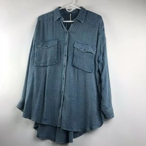 Free People Blue Sz S Oversized Long Sleeve Shirt
